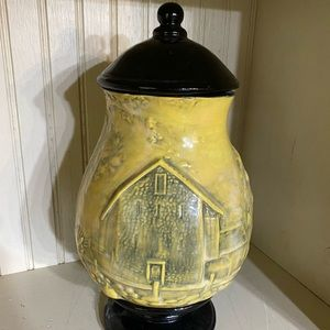 Beautiful yellow and black urn vase with lid